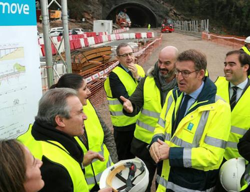 El presidente de la Xunta de Galicia visita las obras de la Autovía del Morrazo